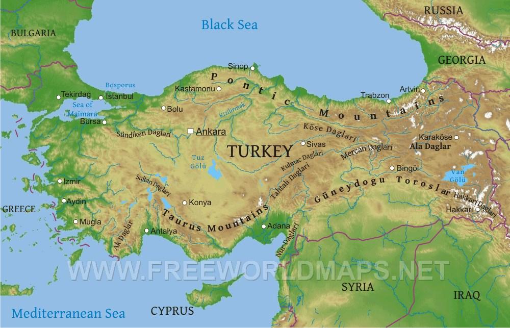 Taurus Mountains Map Turkey Physical Map