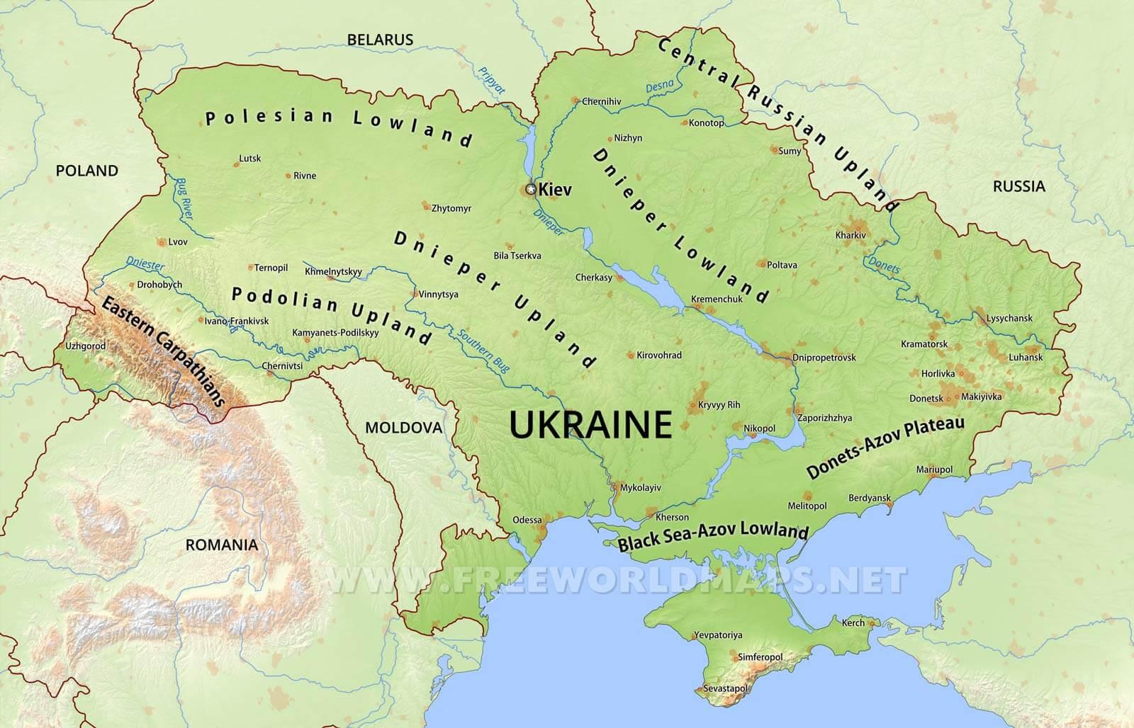 Map Of Ukraine Ukraine Physical Map Map Of Ukraine