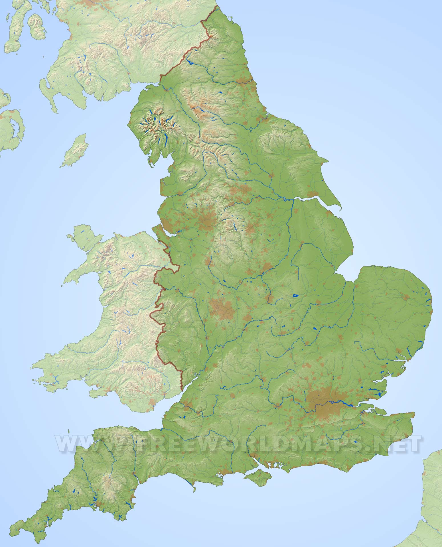 Www Map Of England.England Physical Map