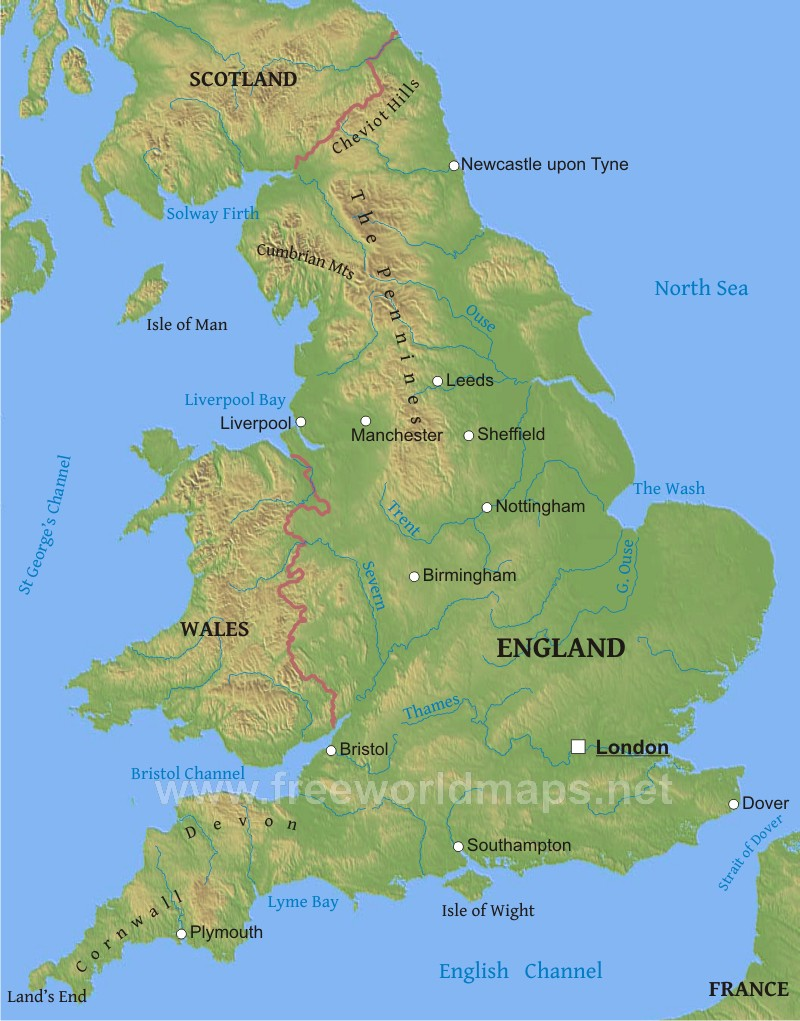England Physical Map on on a physical map english channel, rise of flight channel, body of the central channel,