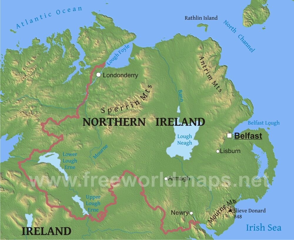 Physical Map Of Ireland.Northern Ireland Physical Map