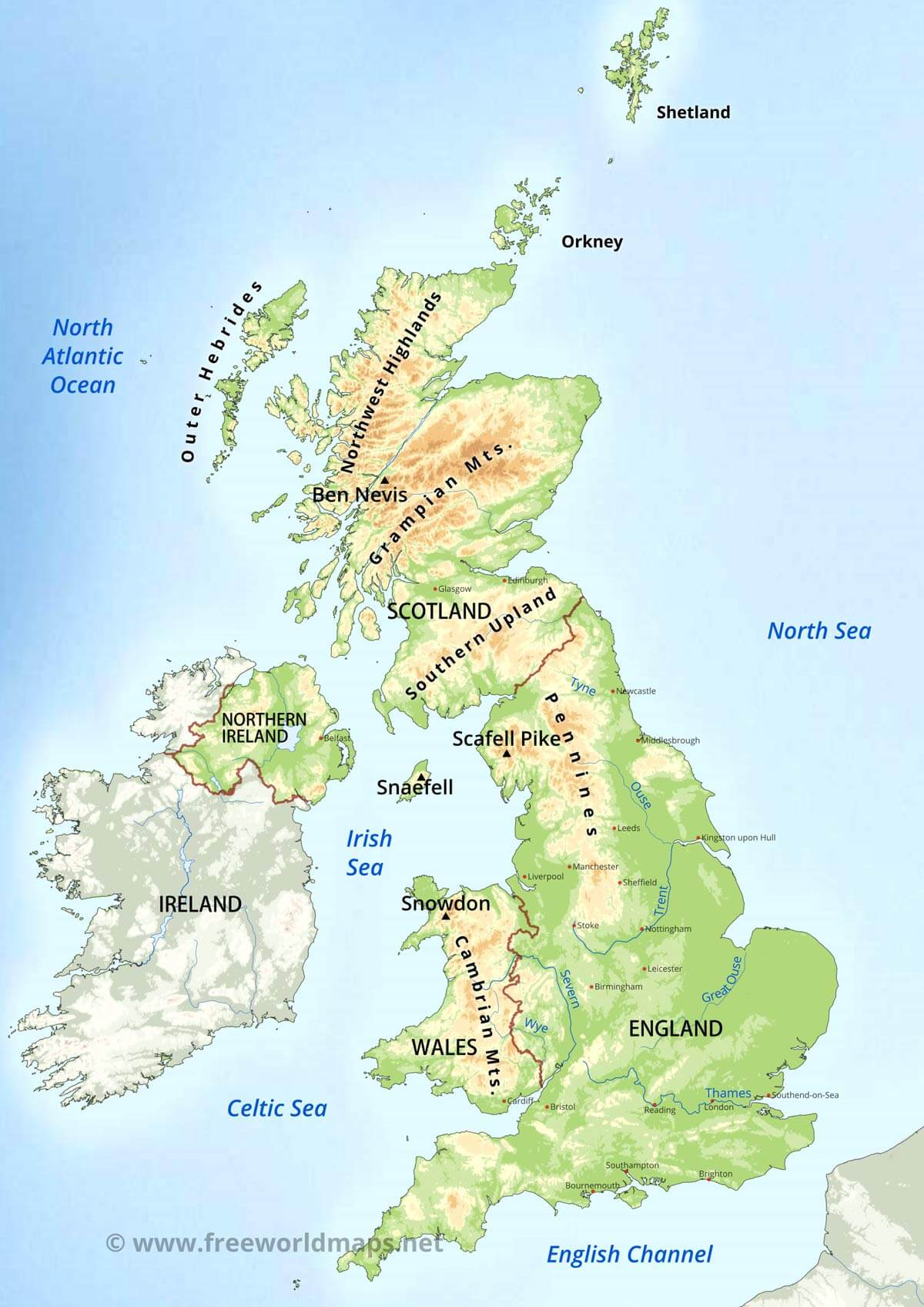 United Kingdom Physical Map on on a physical map english channel, rise of flight channel, body of the central channel,