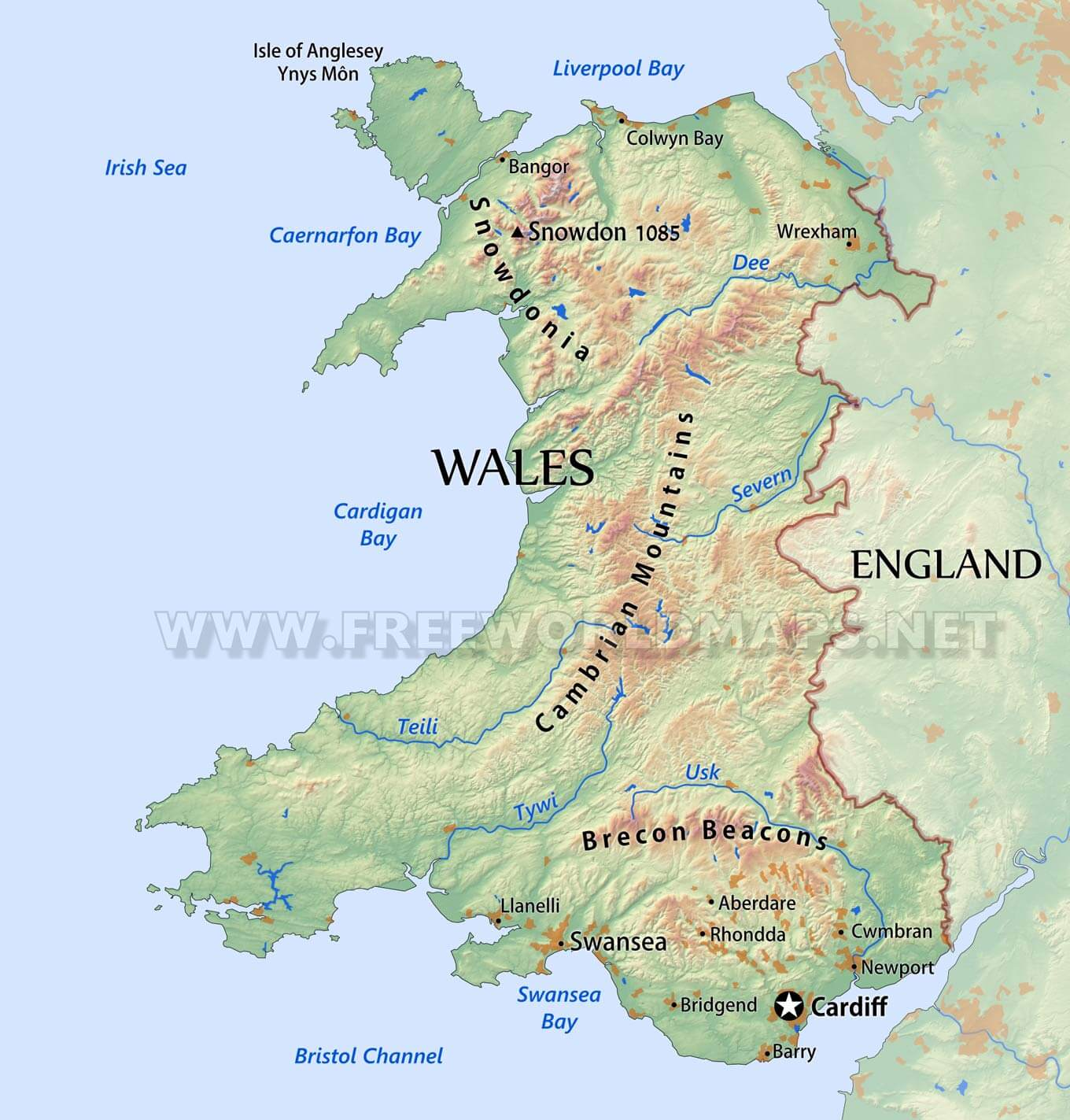 Detailed Map Of Wales Uk.Wales Physical Map