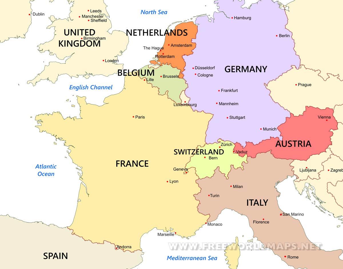 map of west europe Western Europe Maps   by Freeworldmaps.net