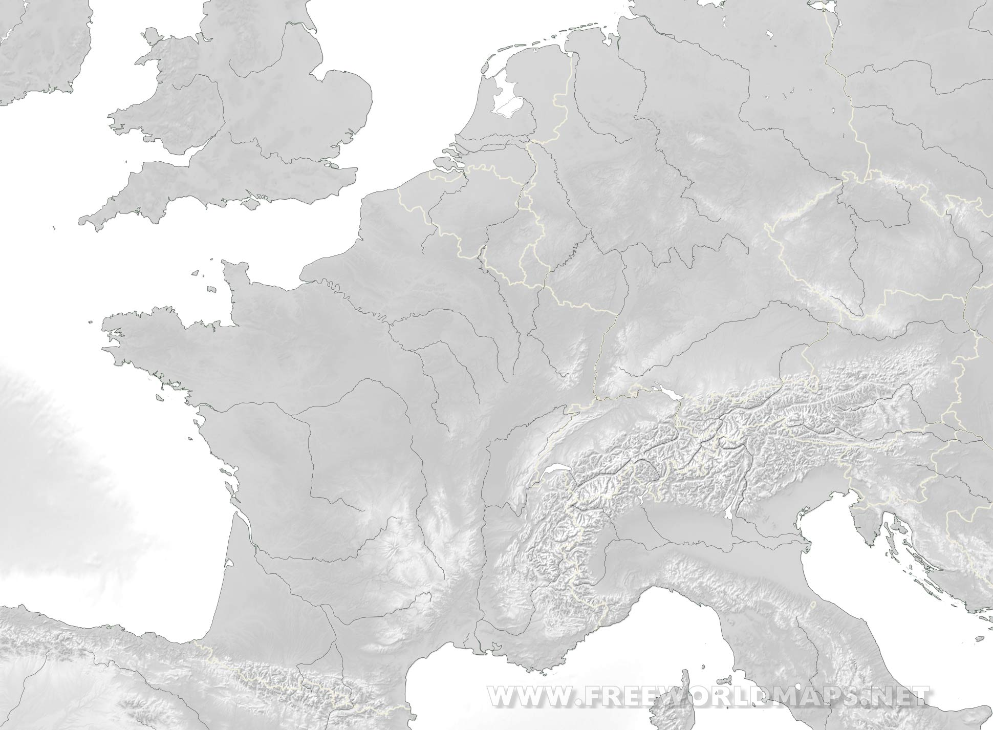 western europe map black and white Western Europe Physical Map