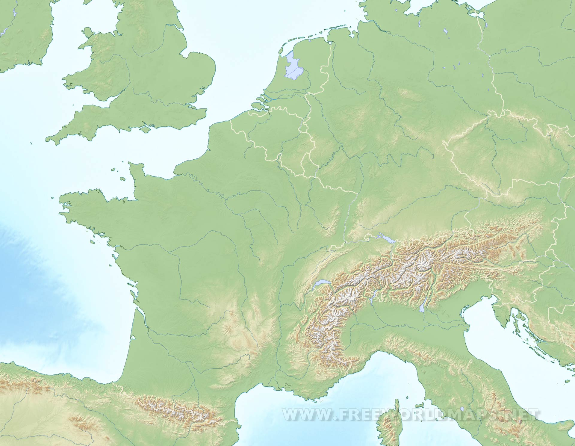 Blank Physical Map Of Europe Western Europe Physical Map