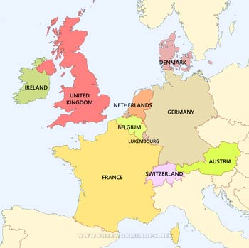 Map Western Europe Western Europe Maps   by Freeworldmaps.net