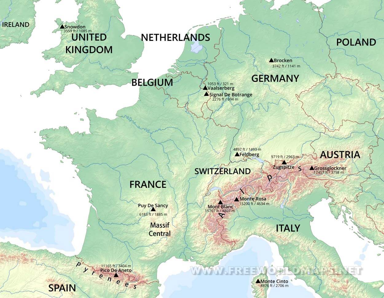 map of western europe physical Western Europe Physical Map