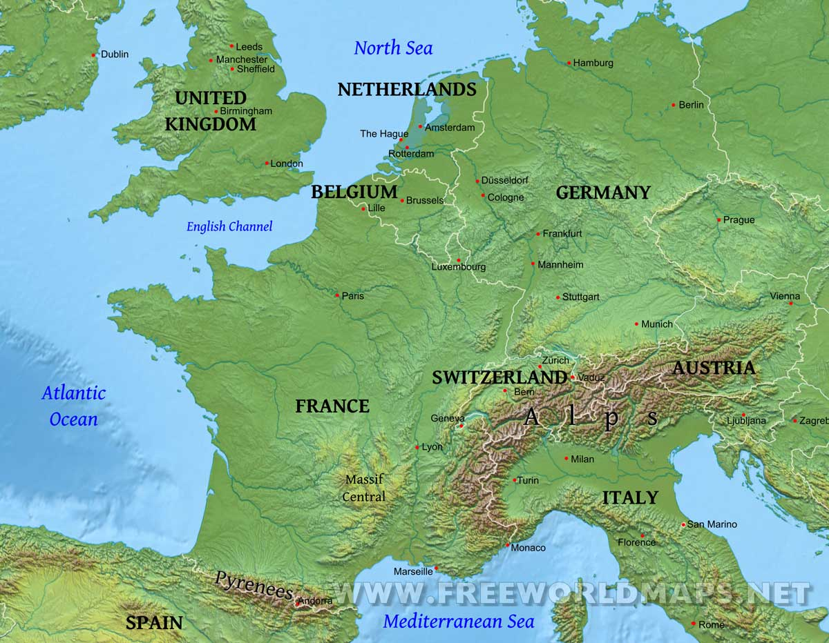Map Of Europe Physical Features Western Europe Physical Map