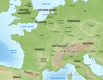 Western Europe Physical And Political Map.Western Europe Maps By Freeworldmaps Net