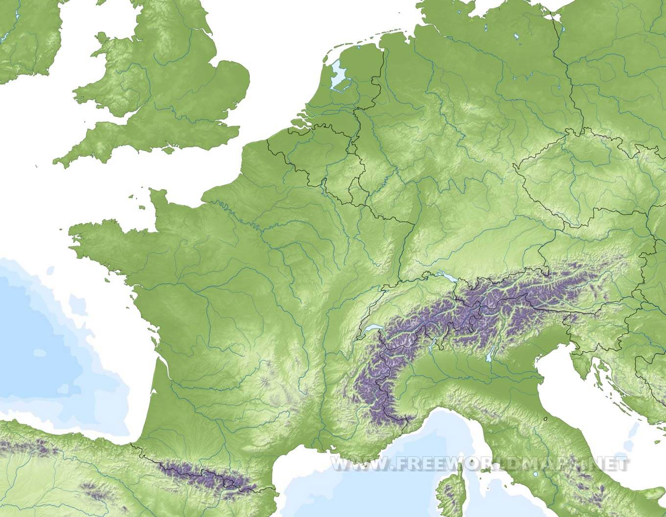 Image of: Western Europe Physical Map