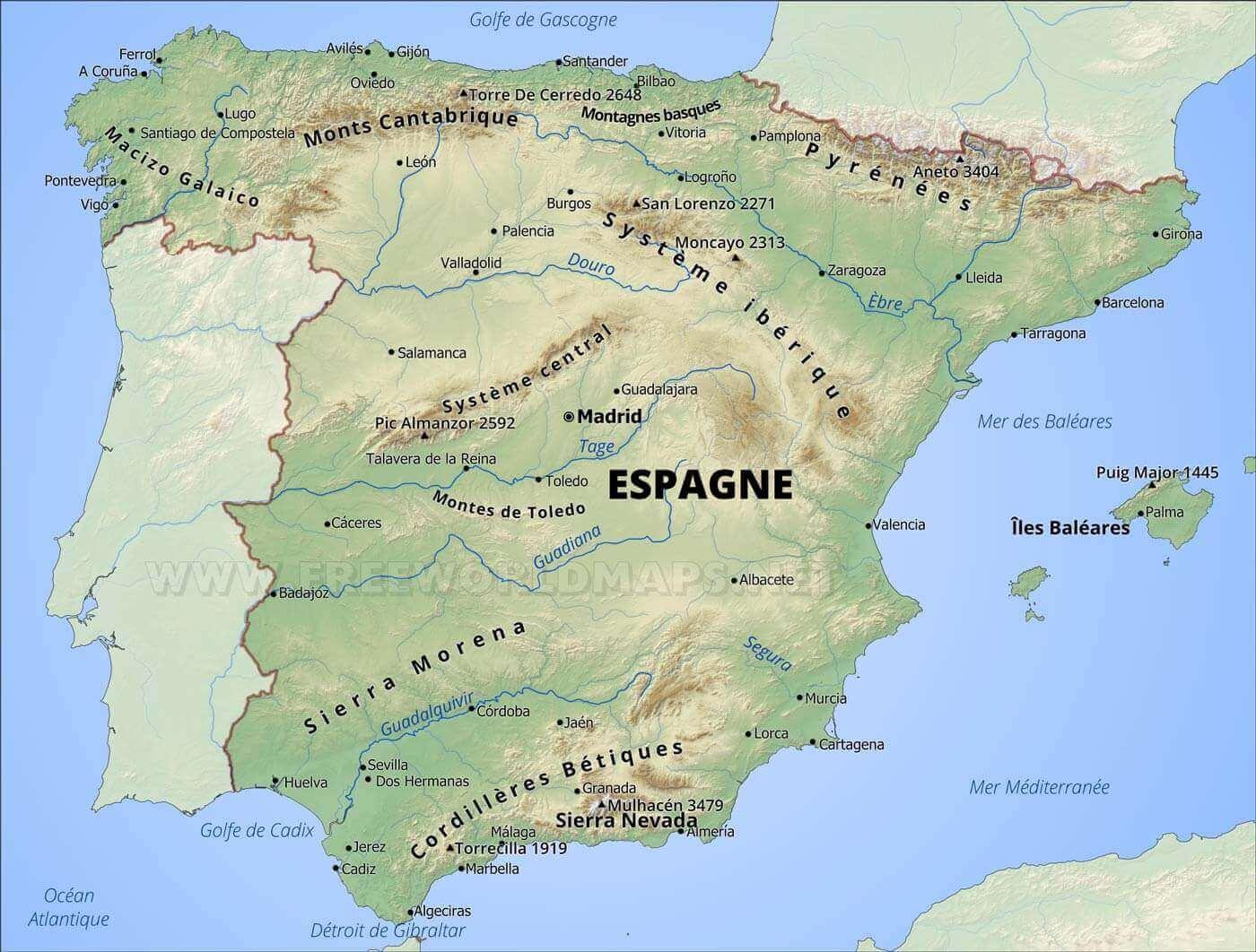 carte géographique de l espagne Carte geographique d'Espagne