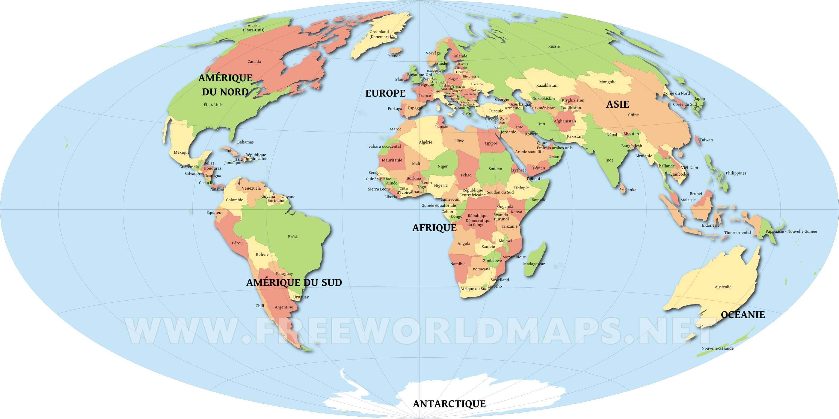 carte mondiale avec pays du monde image