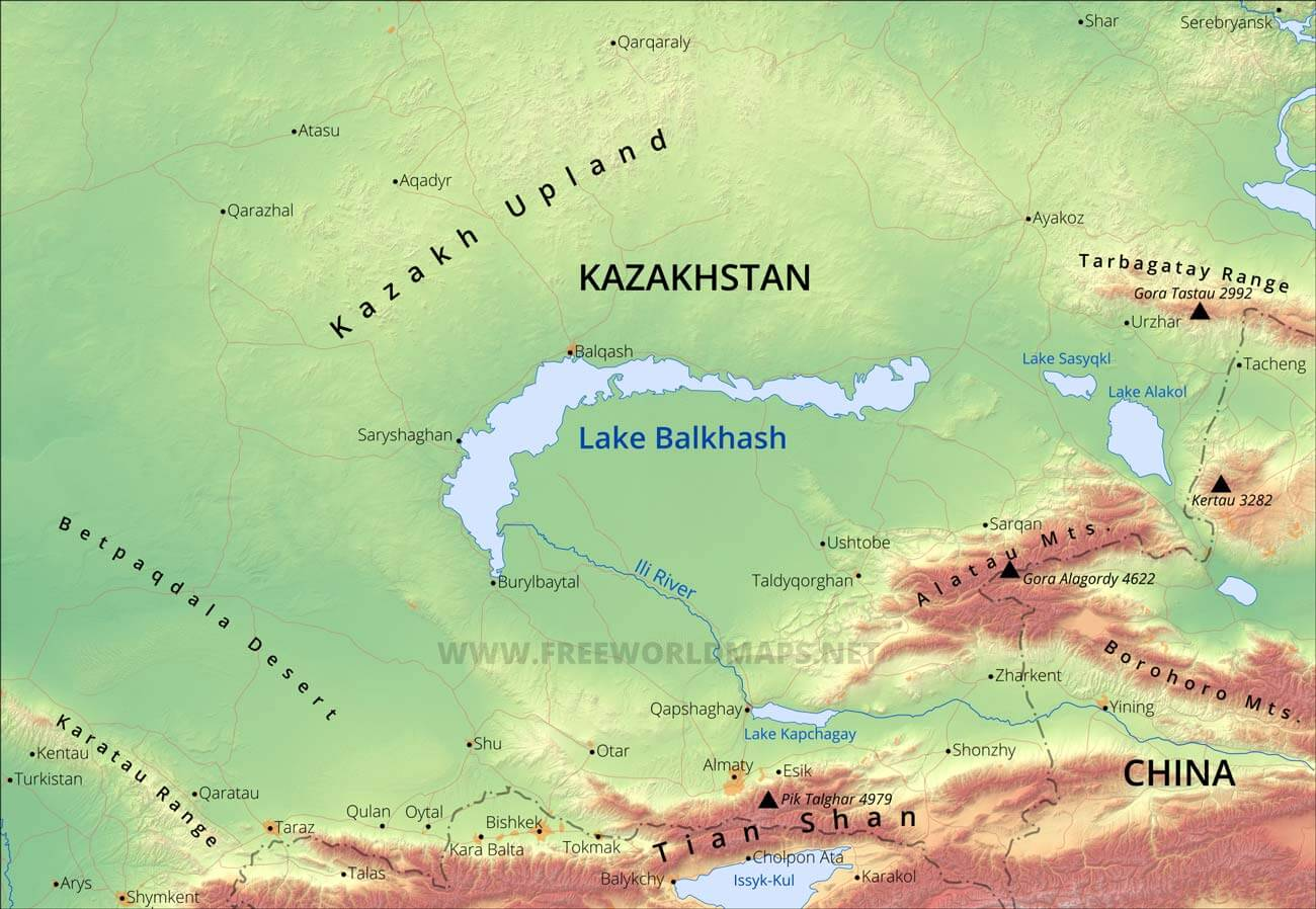 map of a lake Lake Balkhash Maps map of a lake
