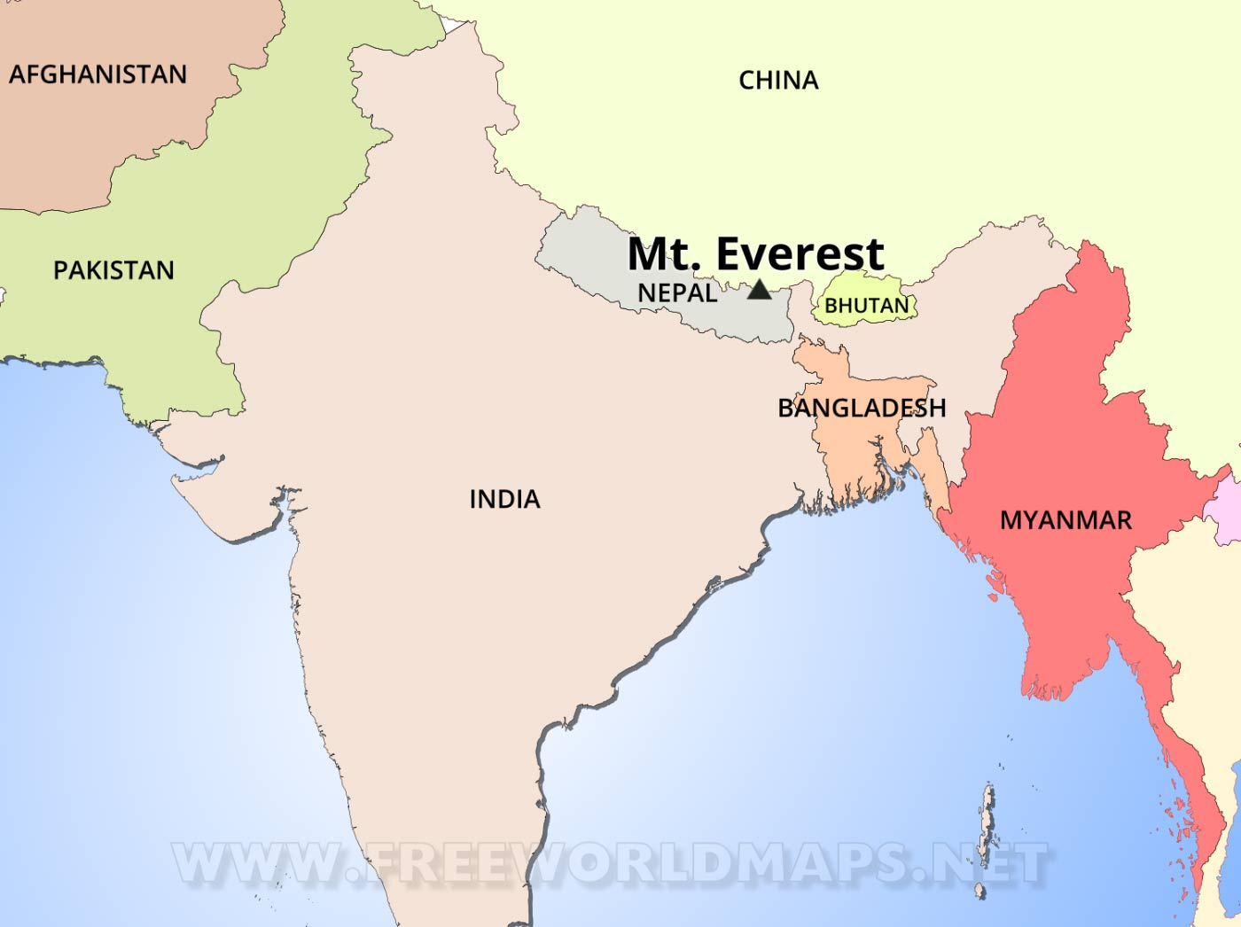 Picture of: Mt Everest Map By Freeworldmaps Net