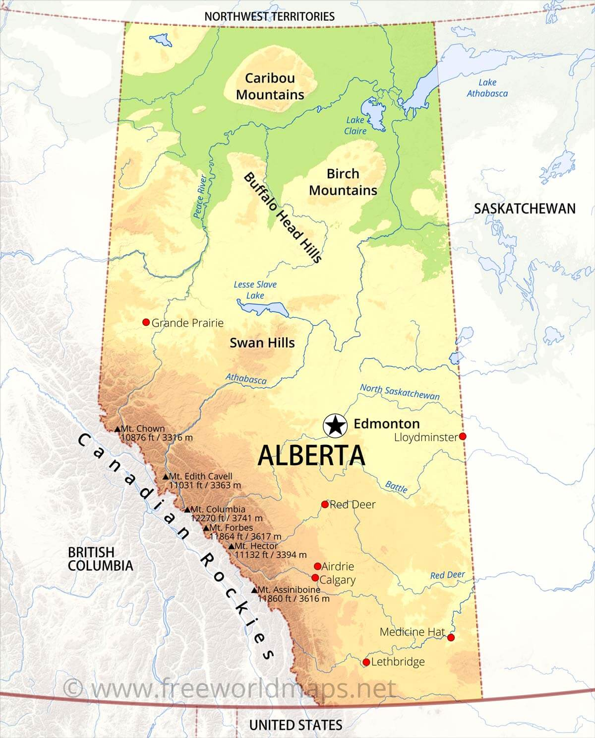 Physical map of Alberta on