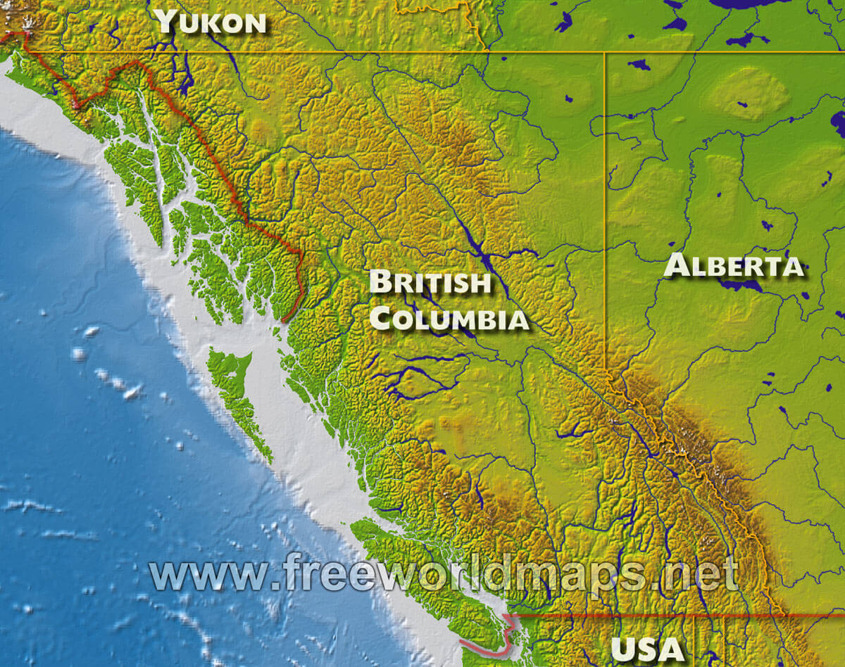 Map Of Canada British Columbia.Physical Map Of British Columbia