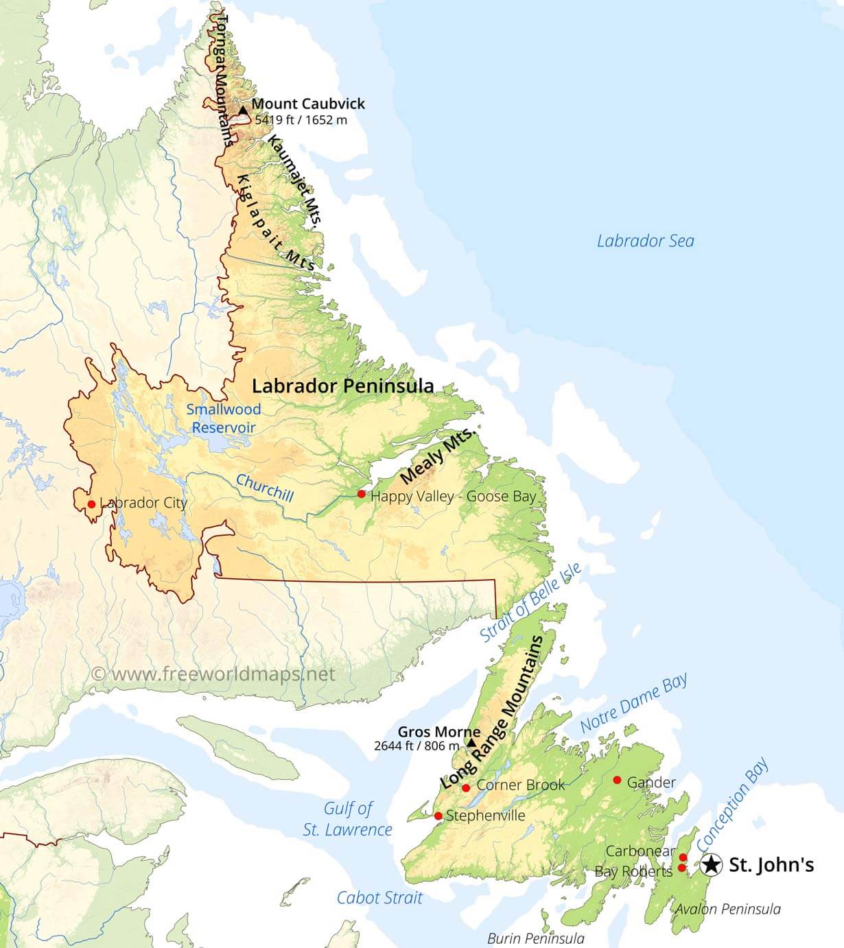 Picture of: Physical Map Of Newfoundland And Labrador