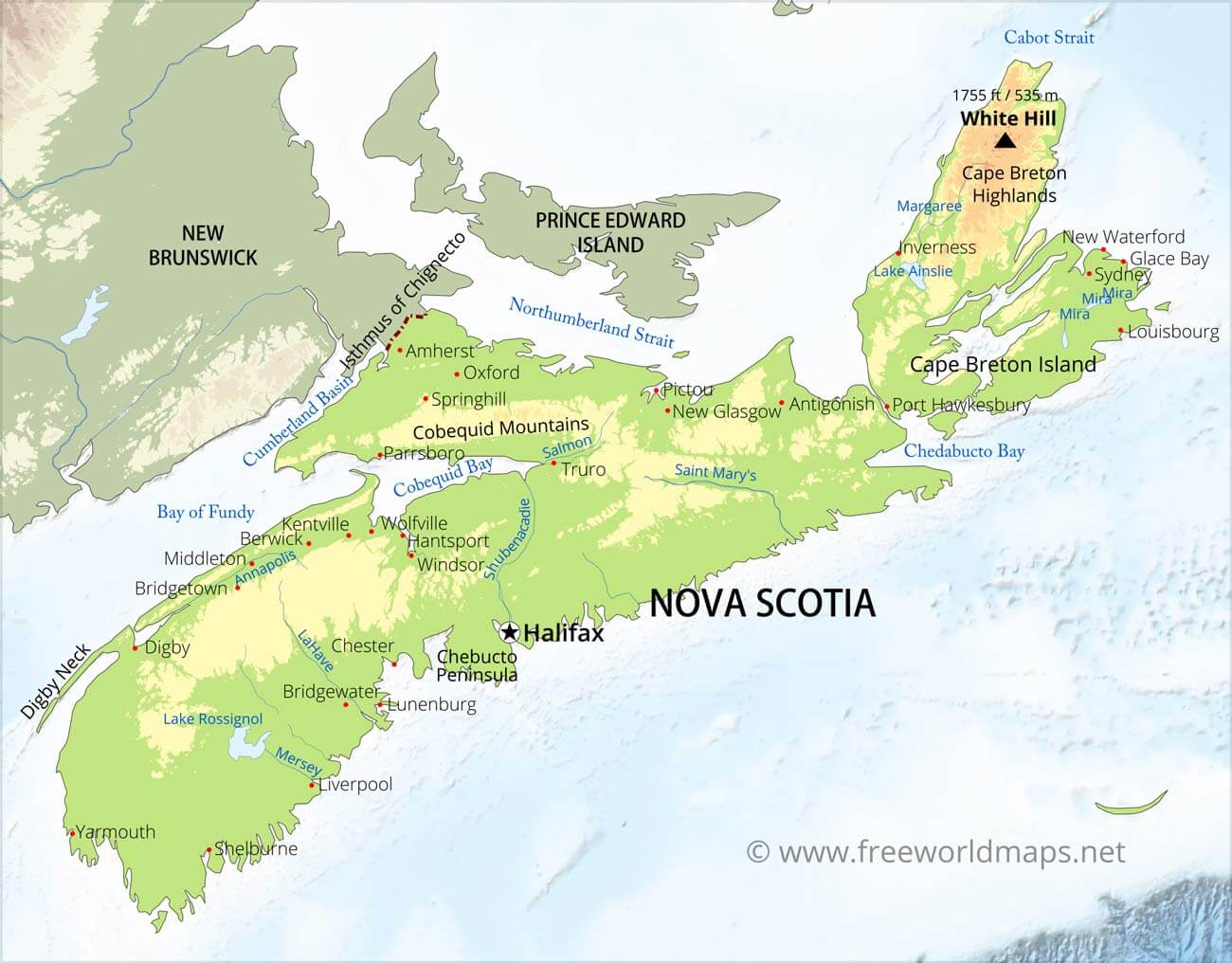 Physical map of Nova Scotia on