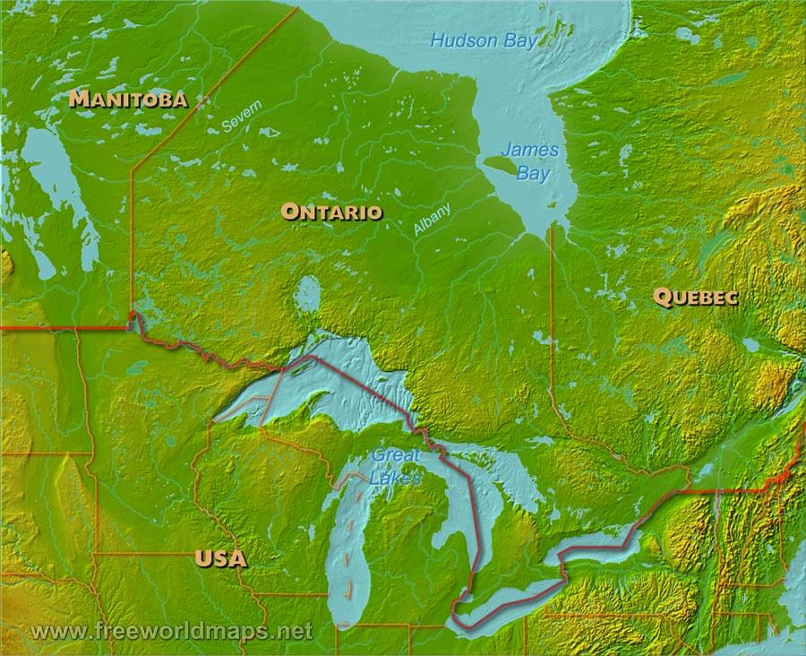 Physical Map Of Canada Lake Ontario Physical map of Ontario