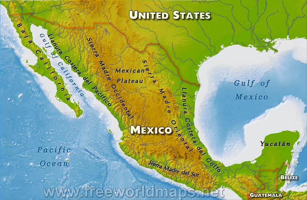 Map Of America Gulf Coast.Mexico Physical Map