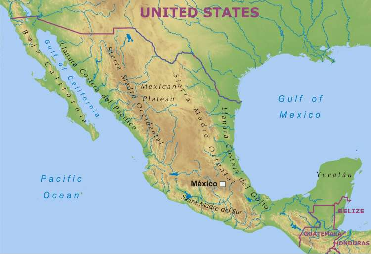 Plateau Of Mexico Map Mexico Physical Map