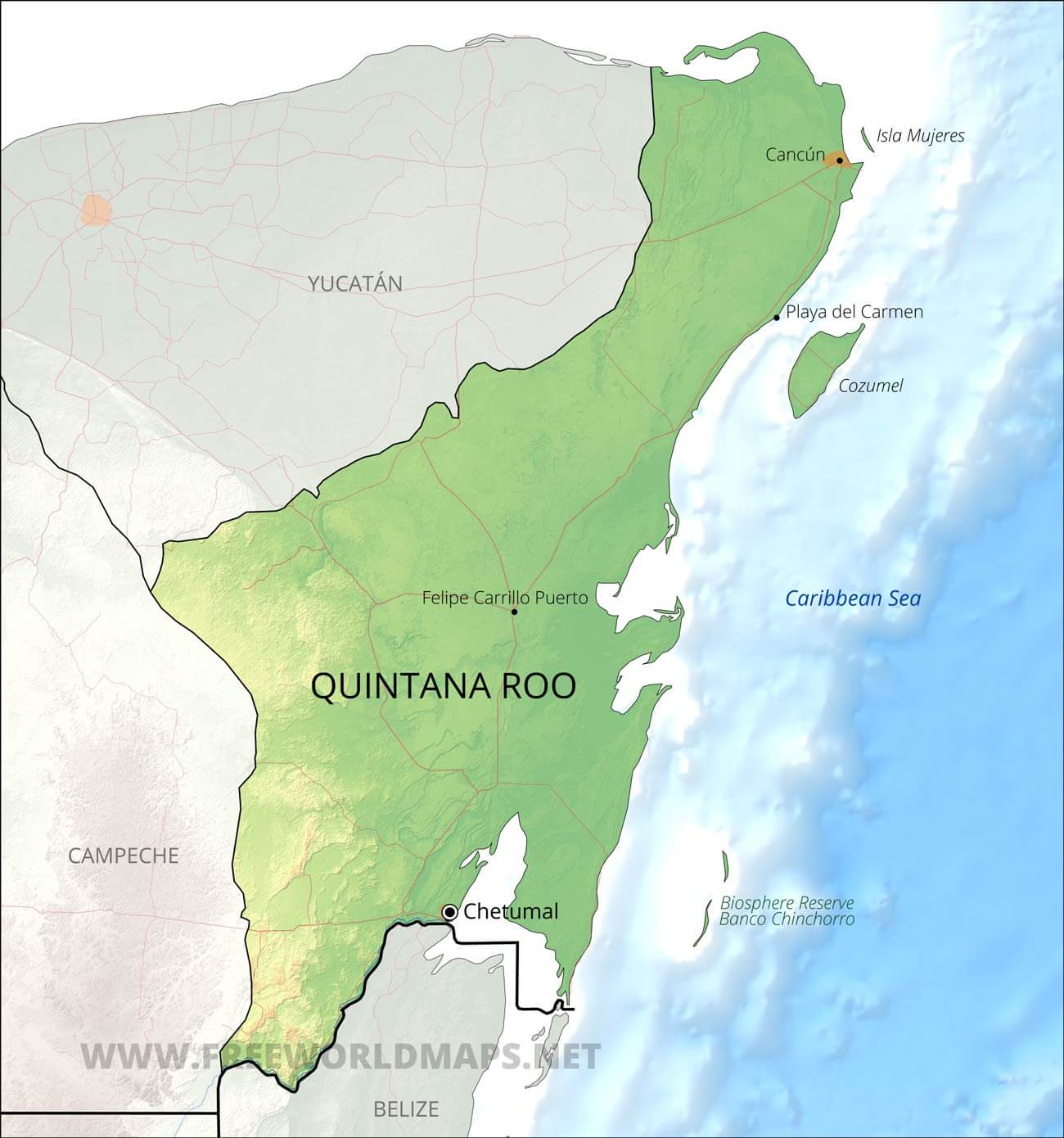 Quintana Roo Map on