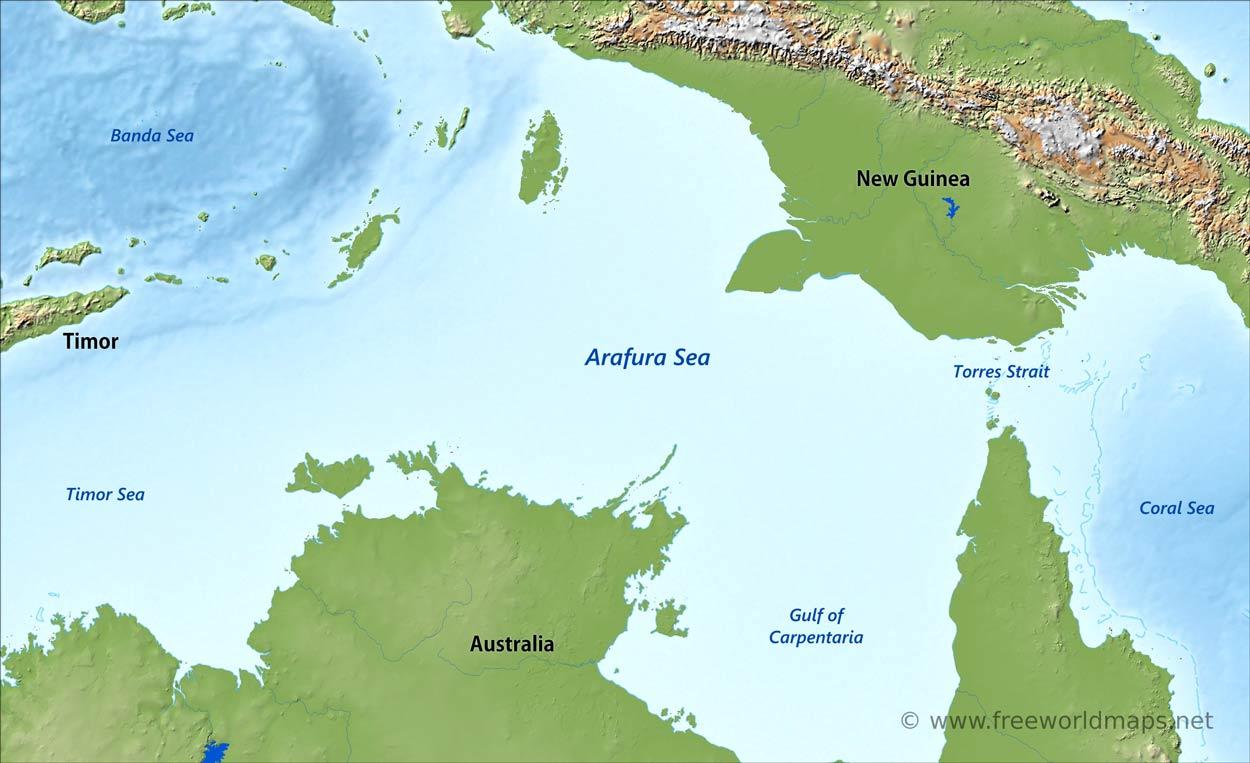 Arafura Sea map - by Freeworldmaps.net