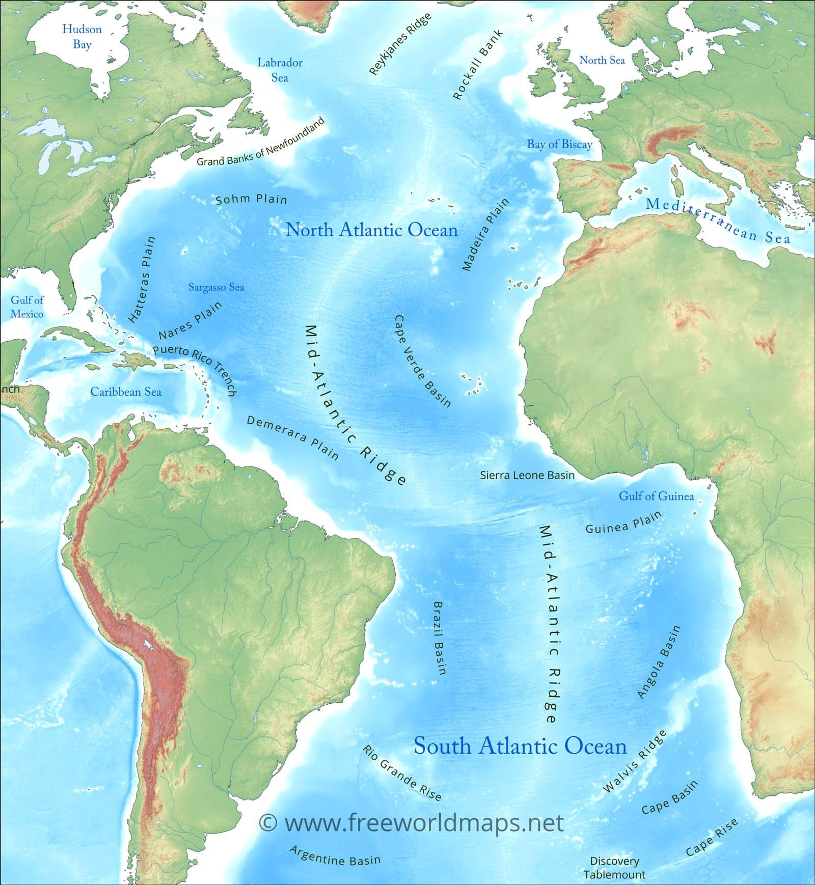 Atlantic Ocean maps and geography and physical features on