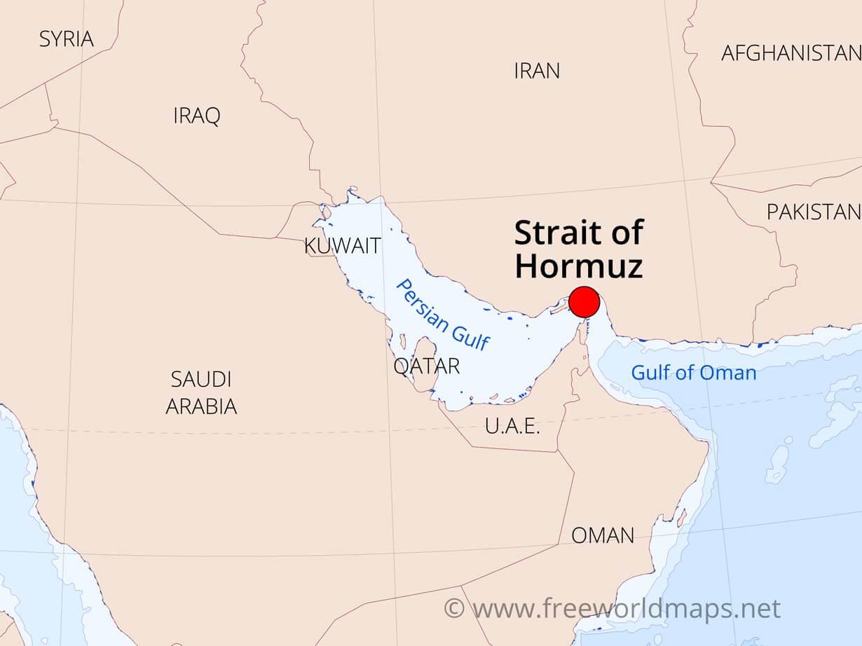 Image of: Strait Of Hormuz Map By Freeworldmaps Net