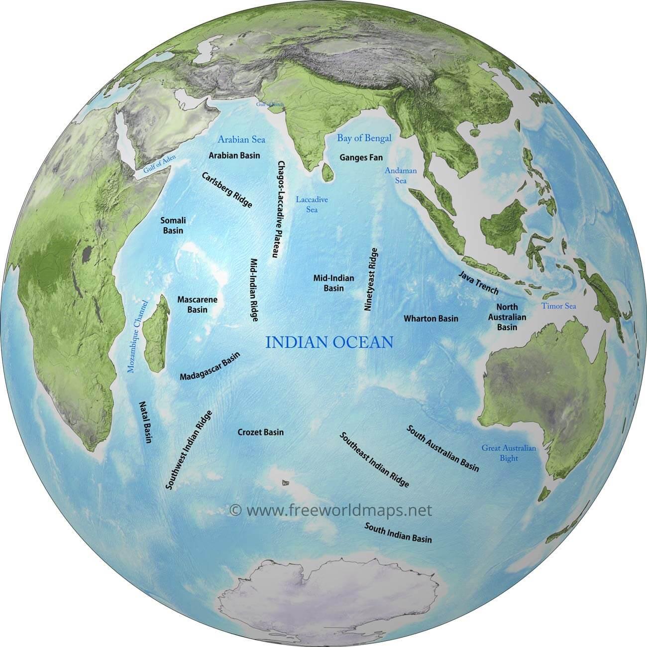 Geography and Map of the Indian Ocean on indian port map, caspian sea, persian gulf, atlantic ocean, bay of bengal, mediterranean sea, indian continent map, christmas island, arctic ocean, indian peaks map, southern ocean, indian airport map, indian peninsula map, indian war map, indian desert map, caribbean sea, silk road, pacific ocean, black sea, arabian sea, indian rivers map, indian mountains map, indian island map, indian heaven map, world ocean, indian staircase map, indian food map, south china sea, red sea, south asia, indian ocean map,