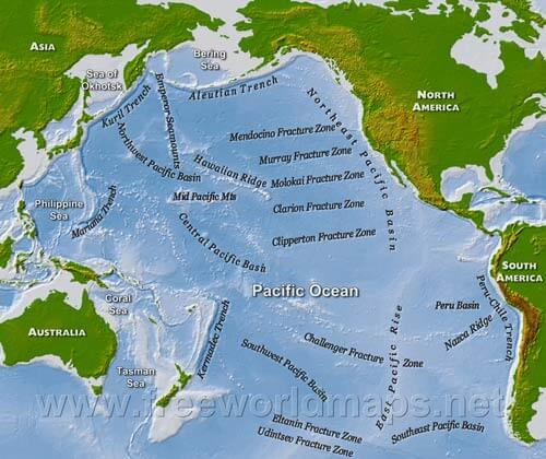Map Pacific Ocean Geography and Map of the Pacific Ocean