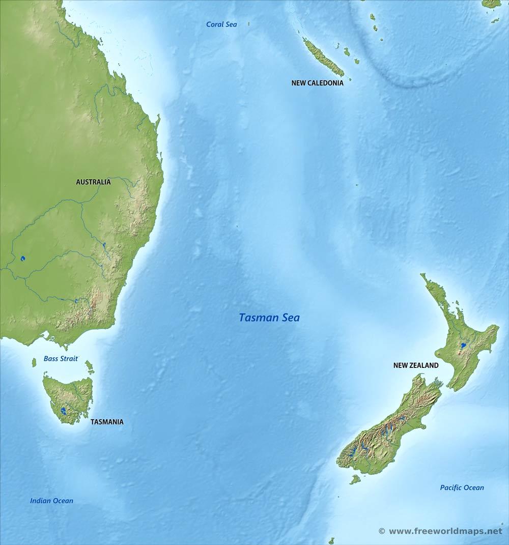 Tasman Sea map - by Freeworldmaps.net