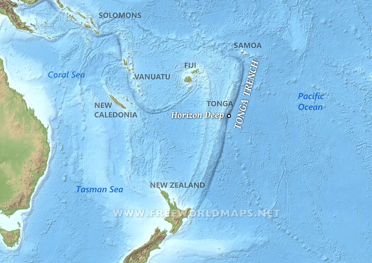 Image of: Tonga Trench Map