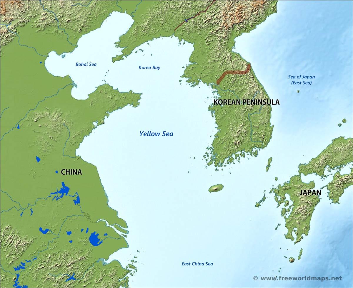 Yellow Sea Map Yellow Sea map   by Freeworldmaps.net