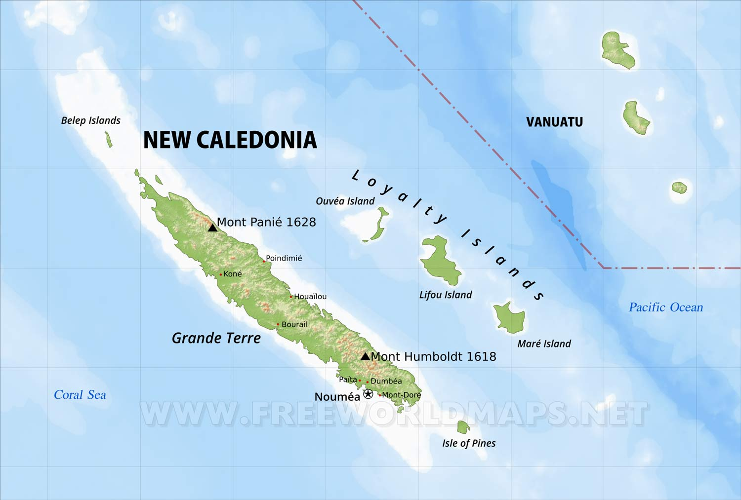 New Caledonia Map on