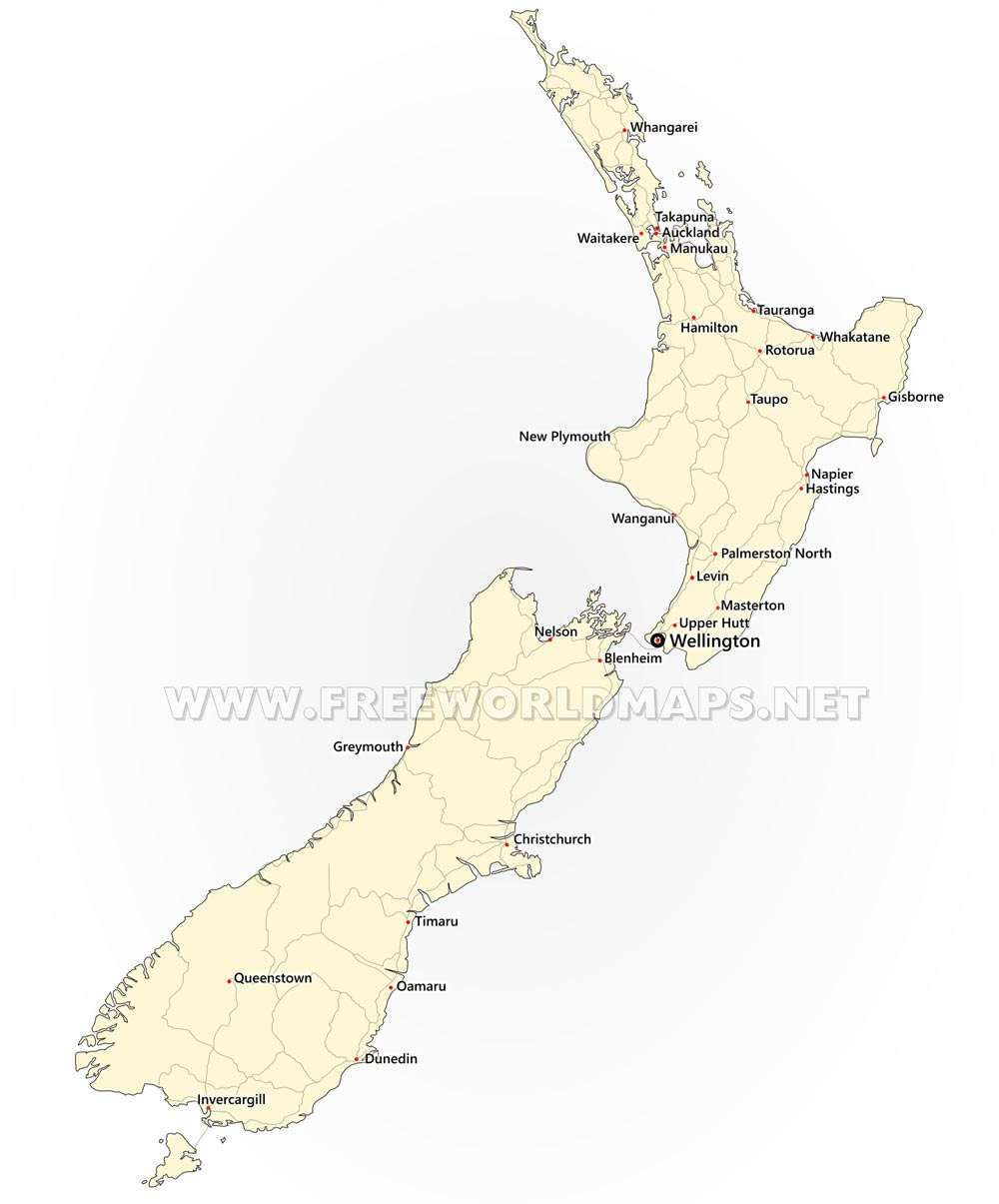 Map Of New Zealand Wellington.New Zealand Political Map
