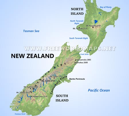 New Zealand On The Map.New Zealand Maps By Freeworldmaps Net