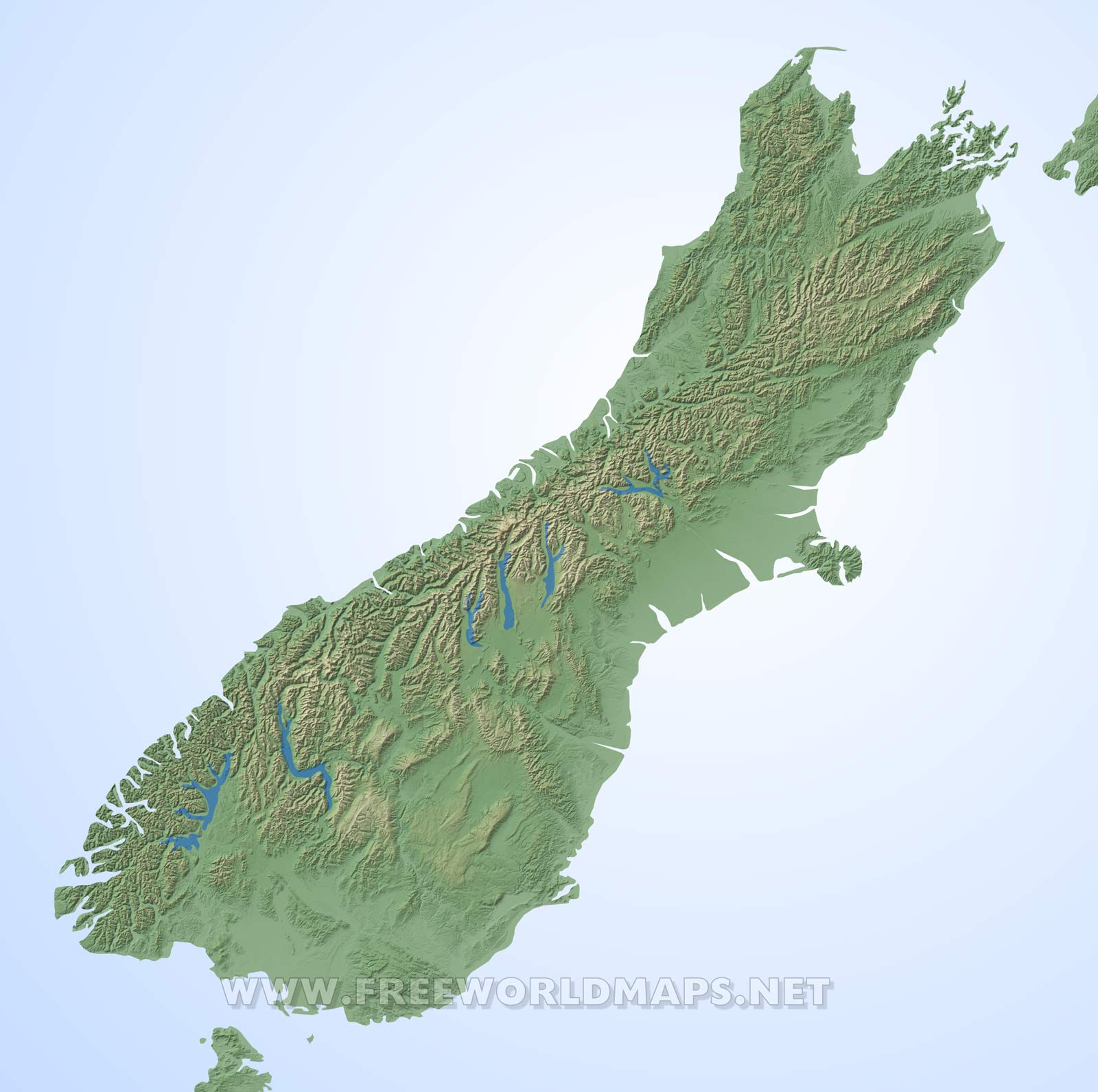 Map New Zealand South Island.Physical Map Of New Zealand South Island