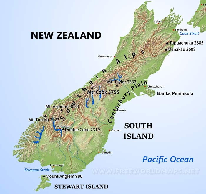 South Island Map Of New Zealand.Physical Map Of New Zealand South Island
