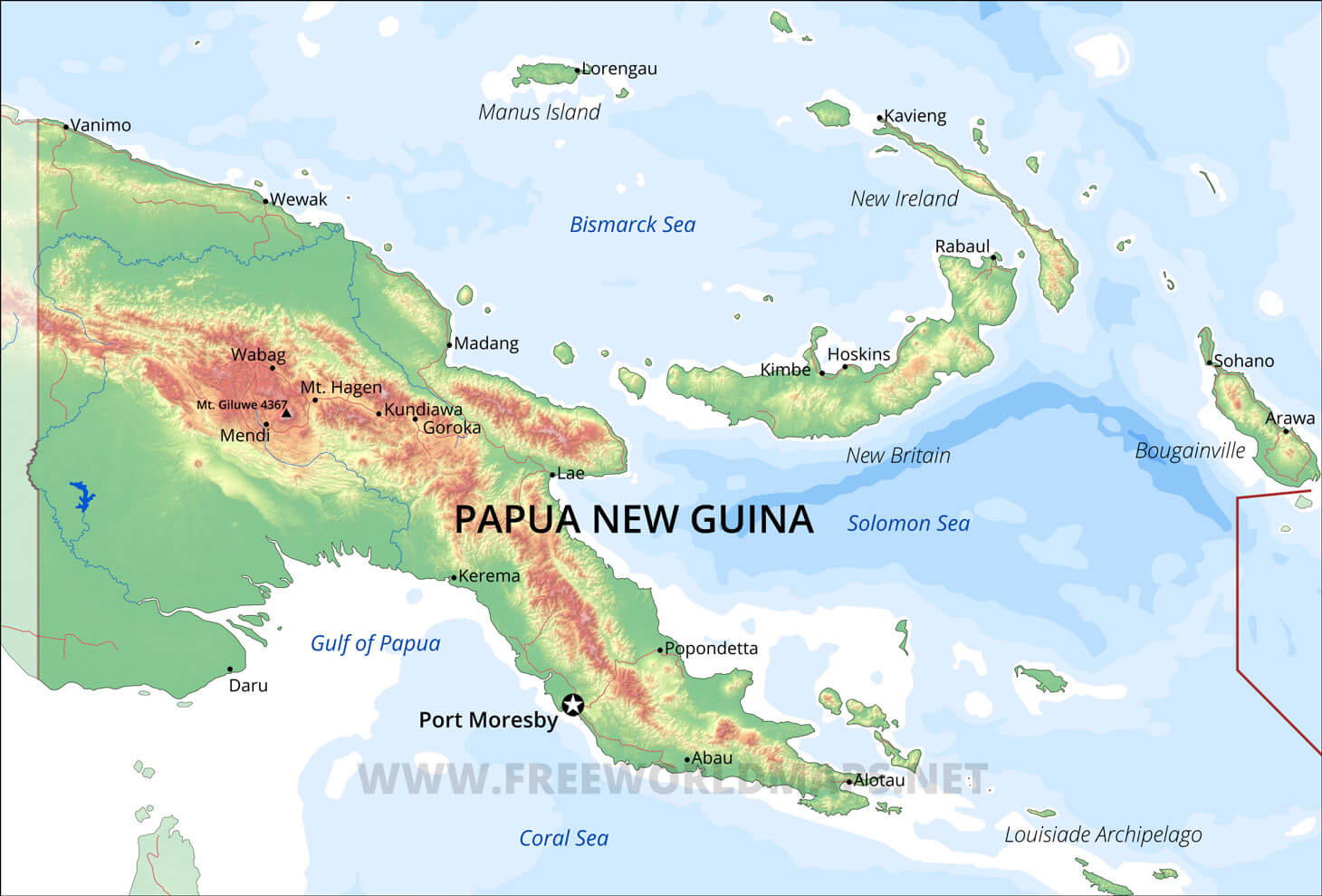 Papua New Guinea Physical Map