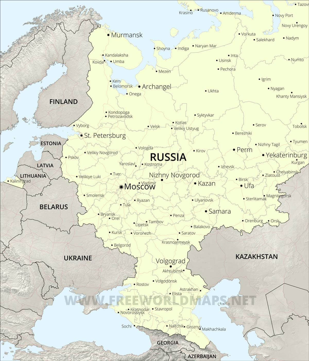 Picture of: European Russia Map