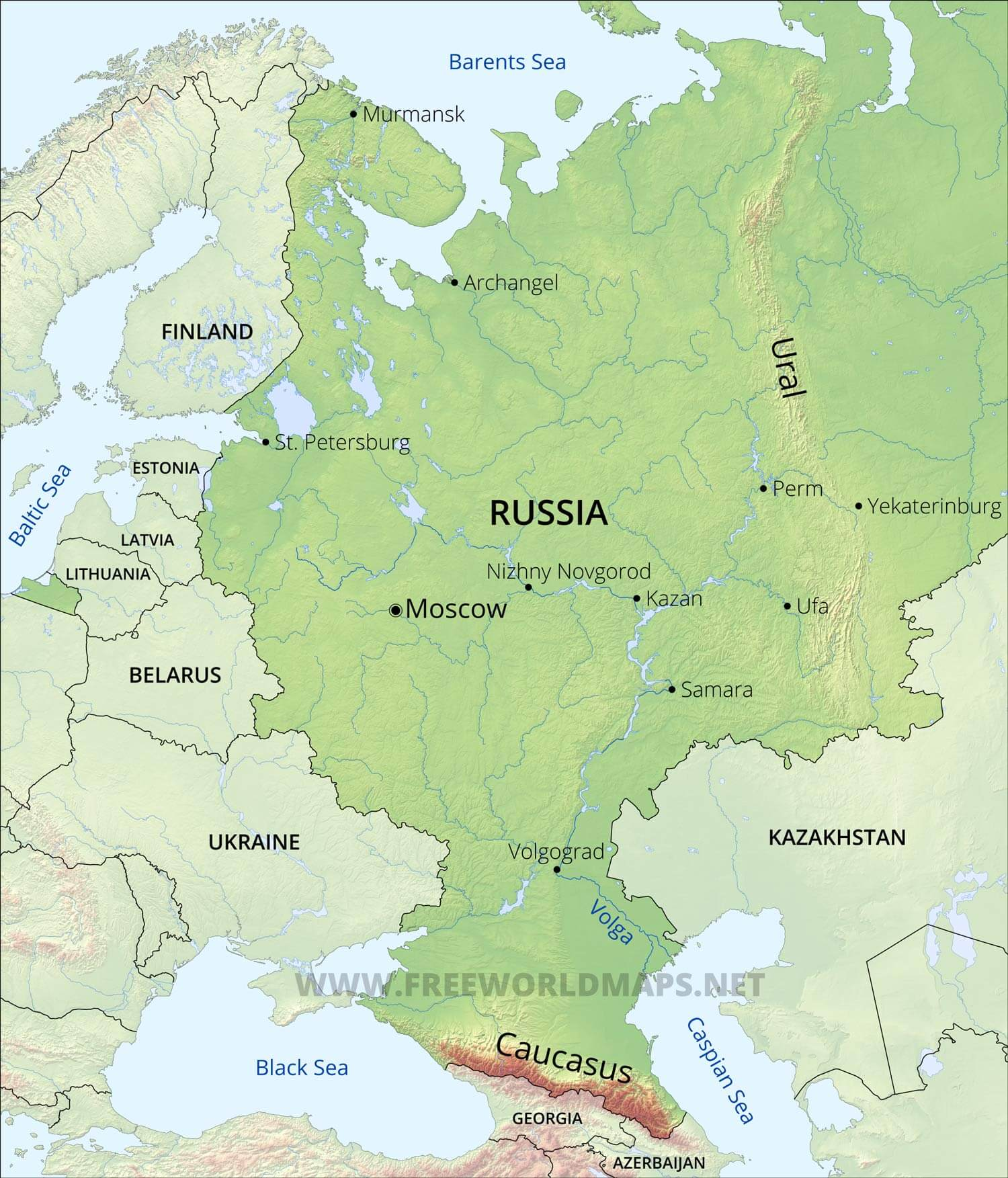 Image of: European Russia Map