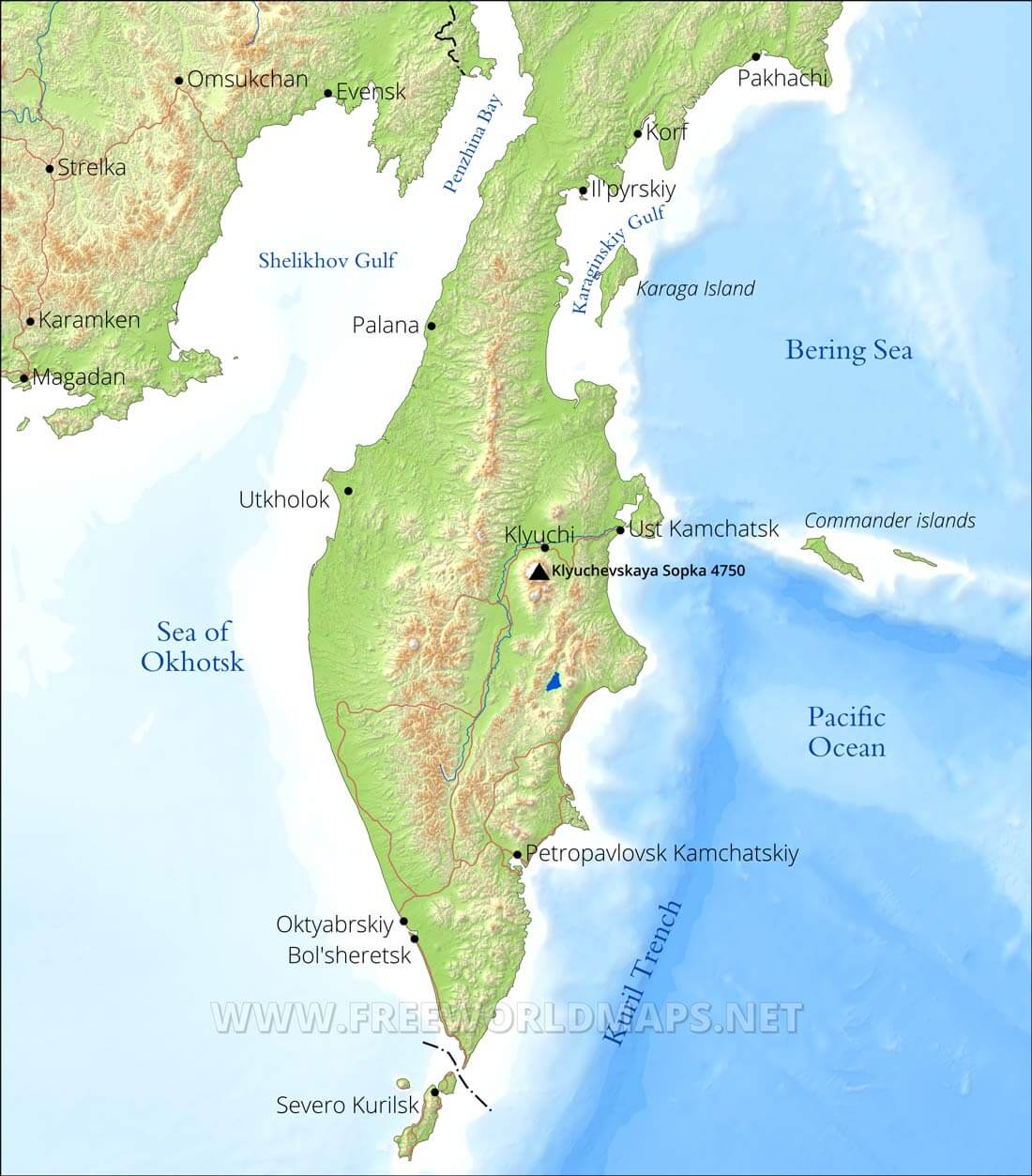 Kamchatka Peninsula Map Kamchatka Maps