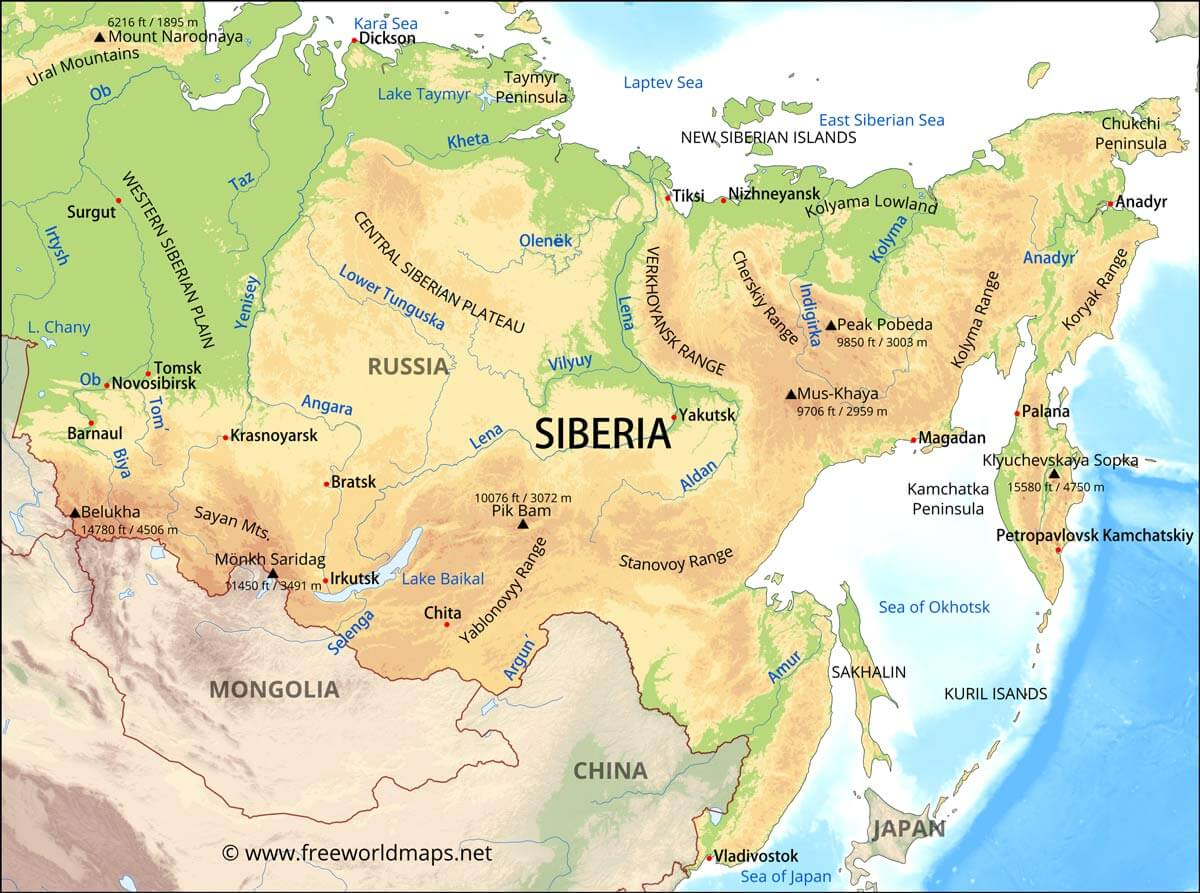 Image of: Siberia Map
