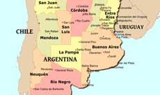Where is Argentina located on the World map?