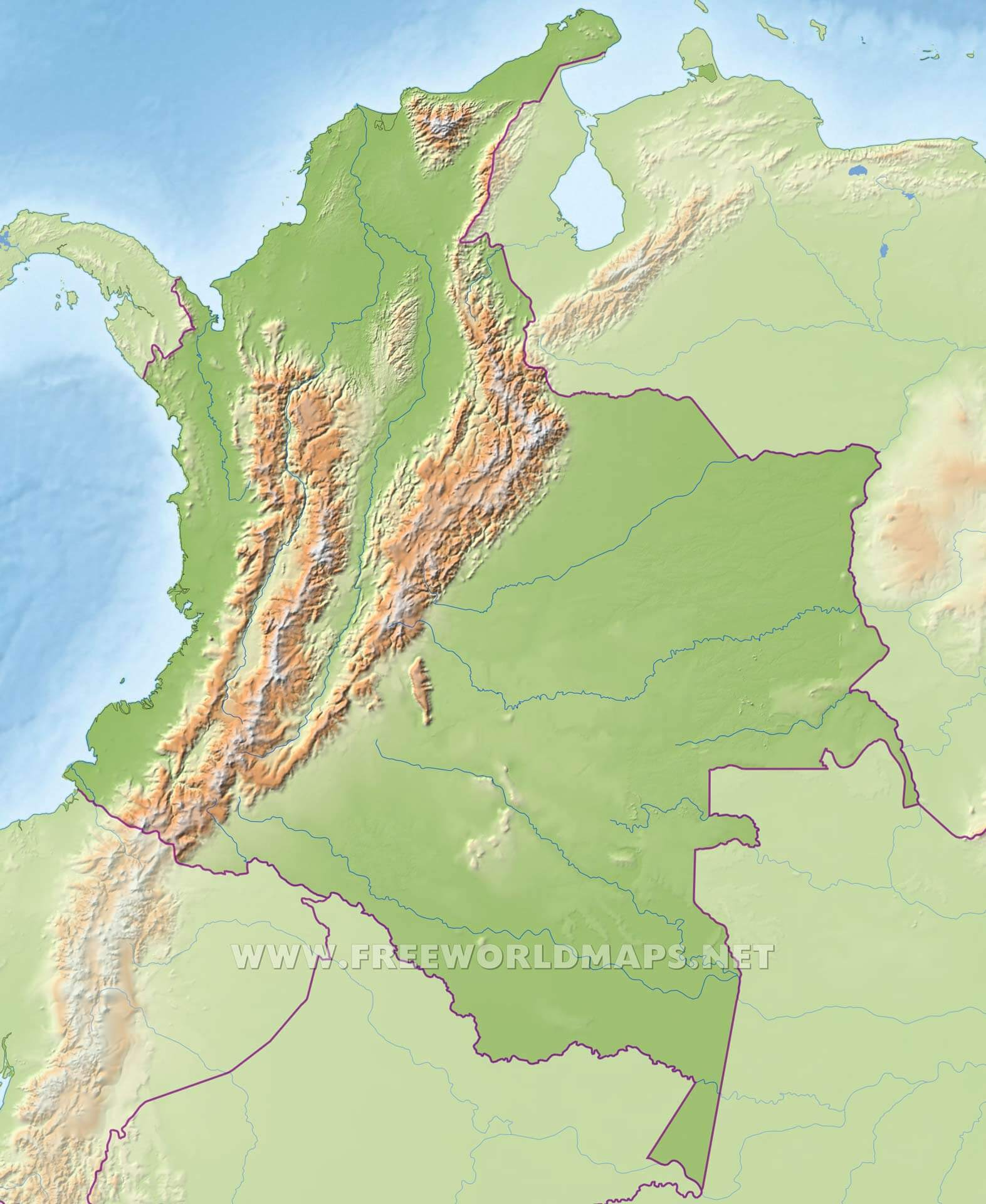 Physical Map Of Colombia Colombia Physical Map