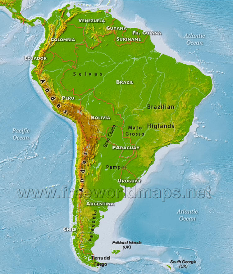 south america map with physical features South America Physical Map Freeworldmaps Net