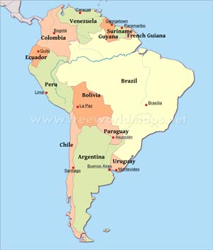 South America Physical Map – Freeworldmaps.net