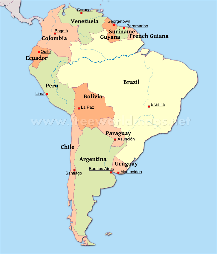 Latin America South America Map.South America Political Map